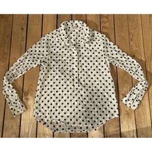 J. Crew Polka Dot Long Sleeve Half Button Top S